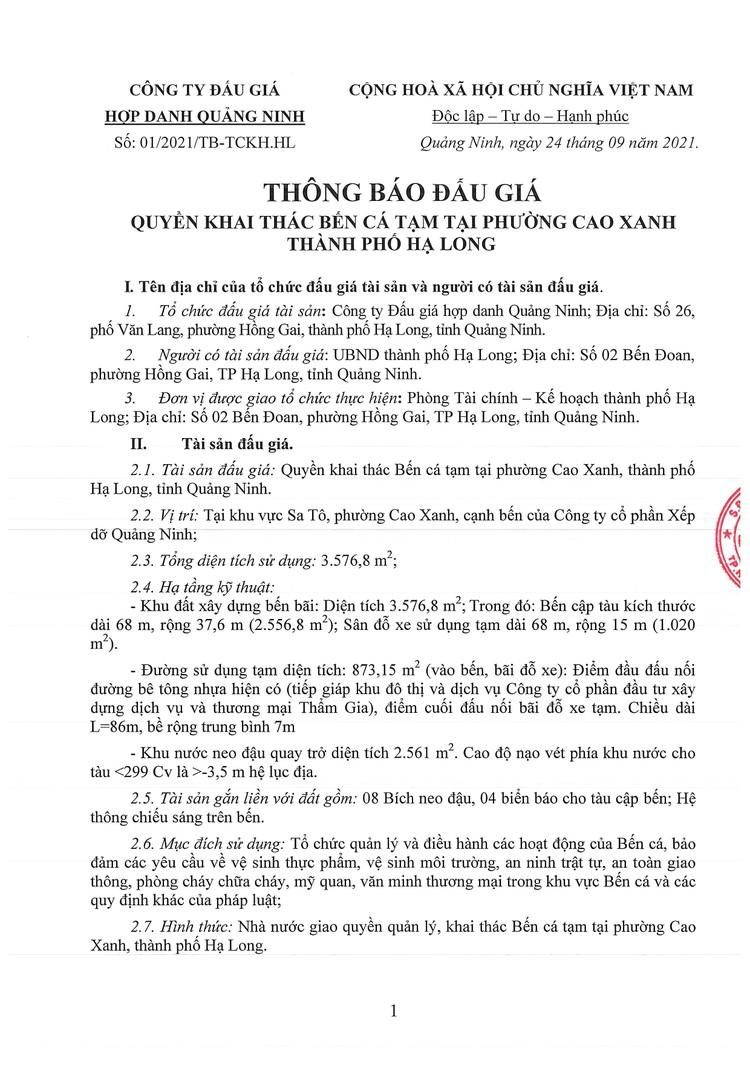 Ngày 15/10/2021, đấu giá quyền khai thác Bến cá tạm tại phường Cao Xanh, thành phố Hạ Long, tỉnh Quảng Ninh ảnh 2
