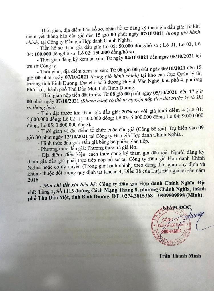 Ngày 12/10/2021, đấu giá tang vật vi phạm hành chính tại tỉnh Bình Dương ảnh 3