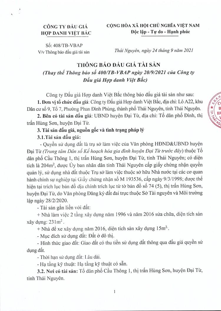 Ngày 18/10/2021, đấu giá quyền sử dụng đất tại huyện Đại Từ, tỉnh Thái Nguyên ảnh 2