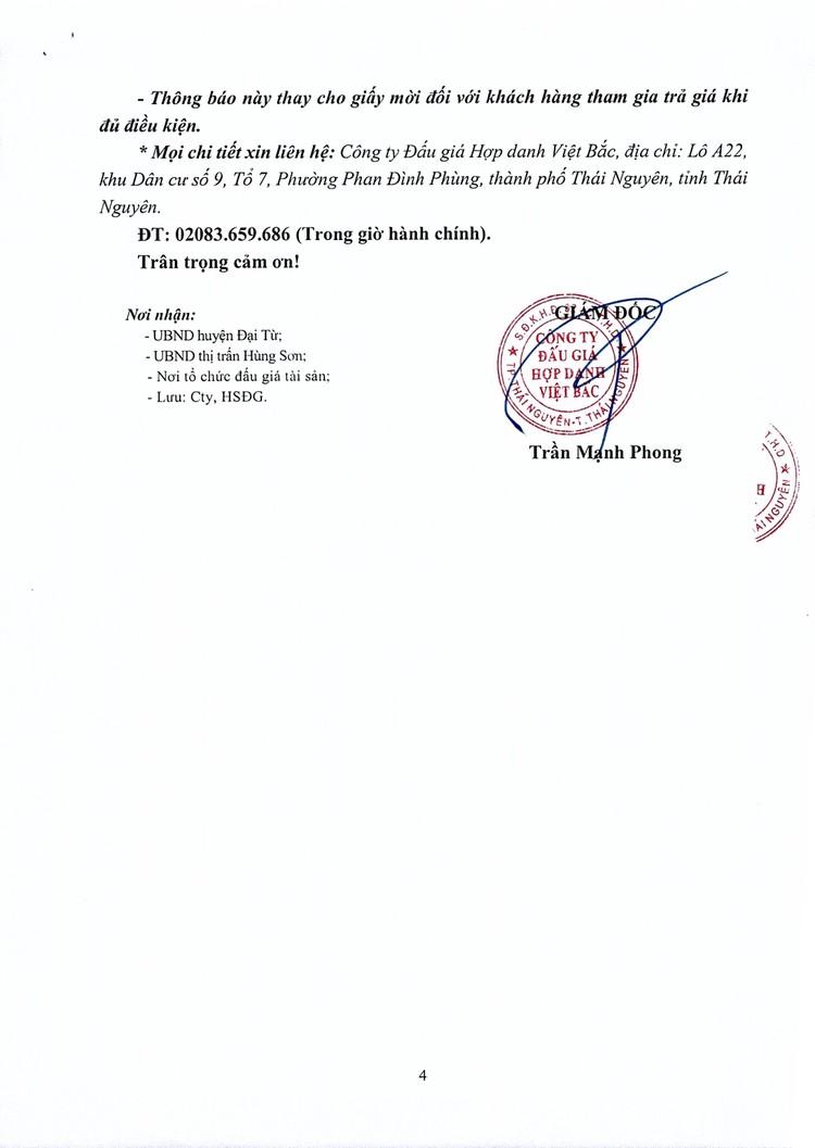 Ngày 18/10/2021, đấu giá quyền sử dụng đất tại huyện Đại Từ, tỉnh Thái Nguyên ảnh 5