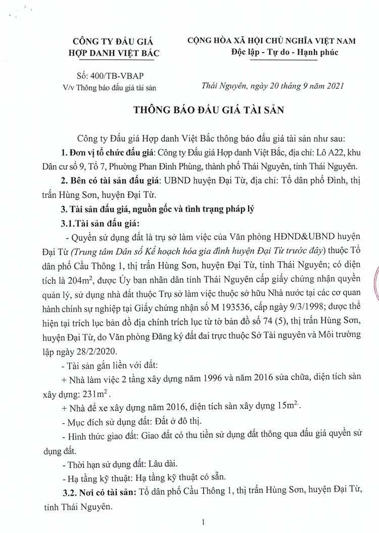 Ngày 18/10/2021, đấu giá quyền sử dụng đất tại huyện Đại Từ, tỉnh Thái Nguyên ảnh 6