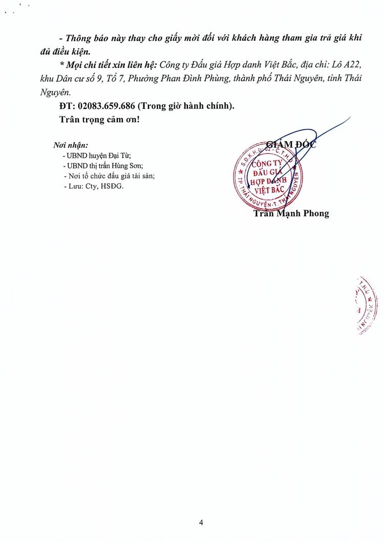 Ngày 18/10/2021, đấu giá quyền sử dụng đất tại huyện Đại Từ, tỉnh Thái Nguyên ảnh 9