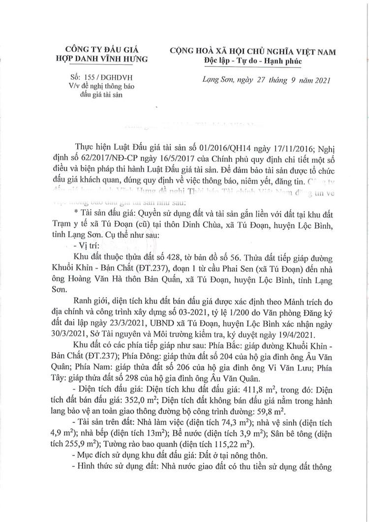 Ngày 21/10/2021, đấu giá quyền sử dụng đất tại huyện Lộc Bình, tỉnh Lạng Sơn ảnh 1