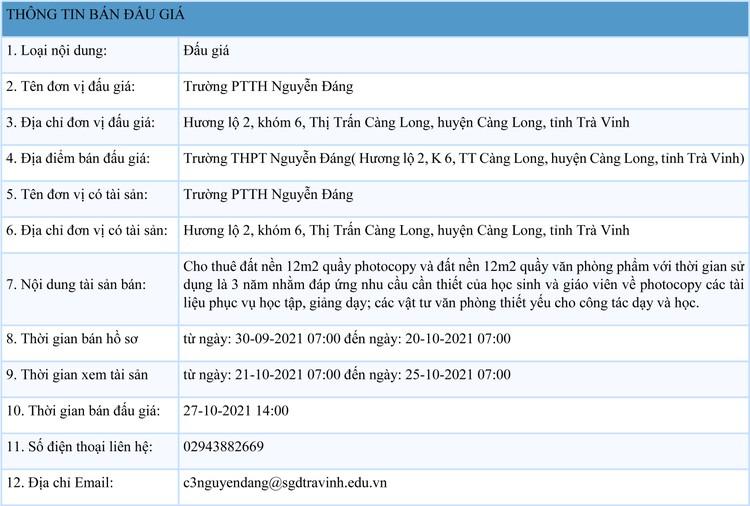 Ngày 27/10/2021, đấu giá cho thuê mặt bằng bán văn phòng phẩm và photocopy tại Trường PTTH Nguyễn Đáng, tỉnh Trà Vinh ảnh 1