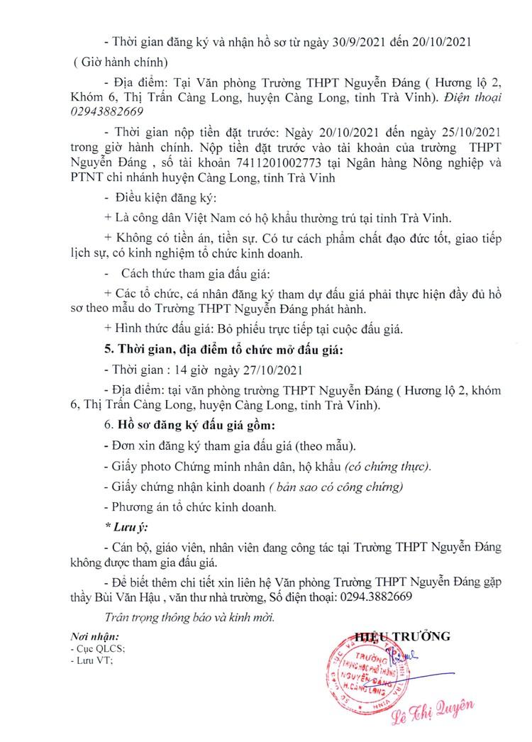 Ngày 27/10/2021, đấu giá cho thuê mặt bằng bán văn phòng phẩm và photocopy tại Trường PTTH Nguyễn Đáng, tỉnh Trà Vinh ảnh 3