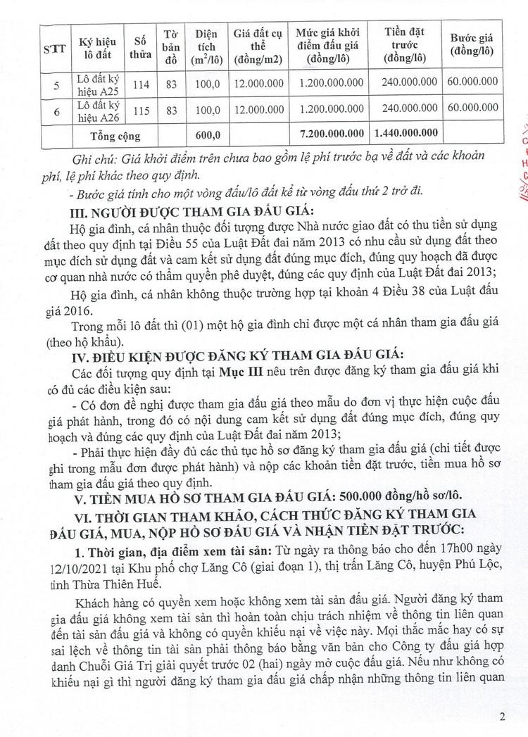 Ngày 15/10/2021, đấu giá quyền sử dụng đất tại huyện Phú Lộc, tỉnh Thừa Thiên Huế ảnh 4
