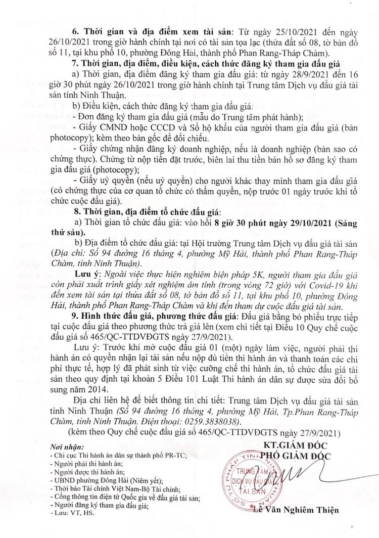 Ngày 29/10/2021, đấu giá quyền sử dụng đất tại thành phố Phan Rang-Tháp Chàm, tỉnh Ninh Thuận ảnh 4