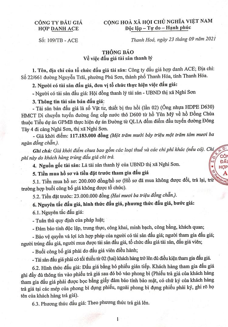 Ngày 11/10/2021, đấu giá vật tư, thiết bị thu hồi tại tỉnh Thanh Hóa ảnh 2