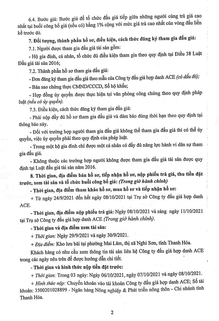 Ngày 11/10/2021, đấu giá vật tư, thiết bị thu hồi tại tỉnh Thanh Hóa ảnh 3