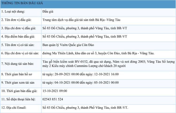 Ngày 15/10/2021, đấu giá tàu gỗ tại tỉnh Bà Rịa -Vũng Tàu ảnh 1