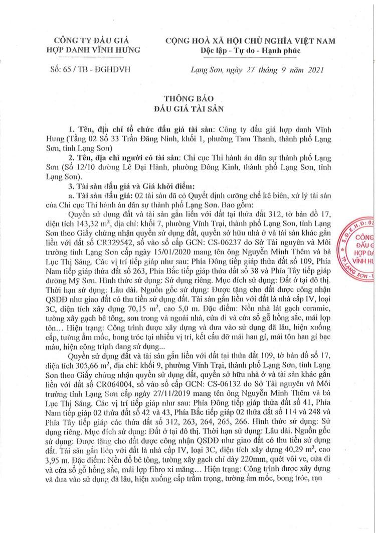 Ngày 21/10/2021, đấu giá 2 quyền sử dụng đất tại thành phố Lạng Sơn, tỉnh Lạng Sơn ảnh 4