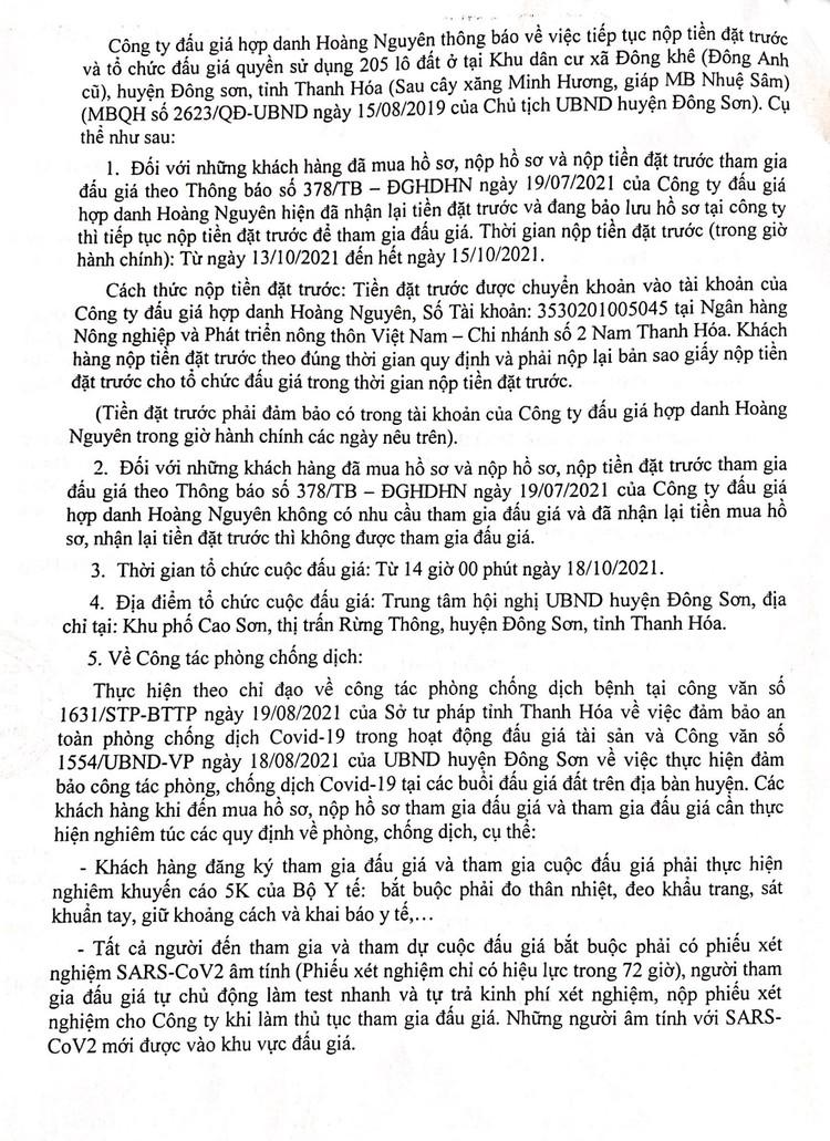 Ngày 18/10/2021, đấu giá quyền sử dụng 205 lô đất tại huyện Đông Sơn, tỉnh Thanh Hóa ảnh 3