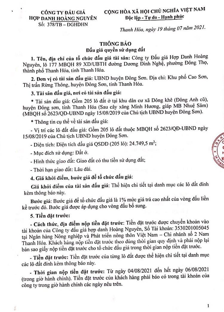 Ngày 18/10/2021, đấu giá quyền sử dụng 205 lô đất tại huyện Đông Sơn, tỉnh Thanh Hóa ảnh 5