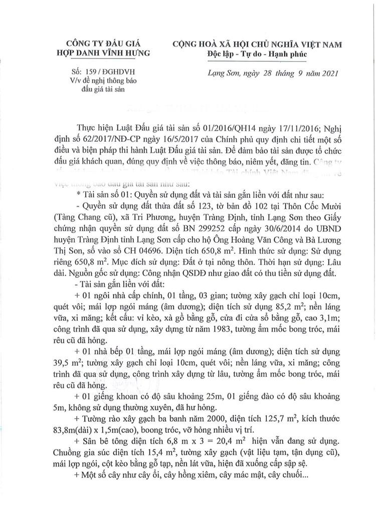 Ngày 22/10/2021, đấu giá 2 quyền sử dụng đất tại huyện Tràng Định, tỉnh Lạng Sơn ảnh 2