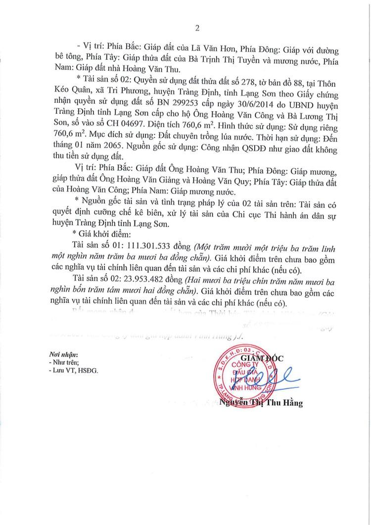 Ngày 22/10/2021, đấu giá 2 quyền sử dụng đất tại huyện Tràng Định, tỉnh Lạng Sơn ảnh 3