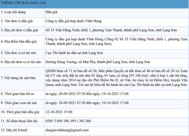 Ngày 22/10/2021, đấu giá quyền sử dụng đất tại huyện Văn Quan, tỉnh Lạng Sơn ảnh 1