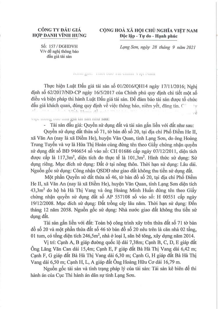 Ngày 22/10/2021, đấu giá quyền sử dụng đất tại huyện Văn Quan, tỉnh Lạng Sơn ảnh 2