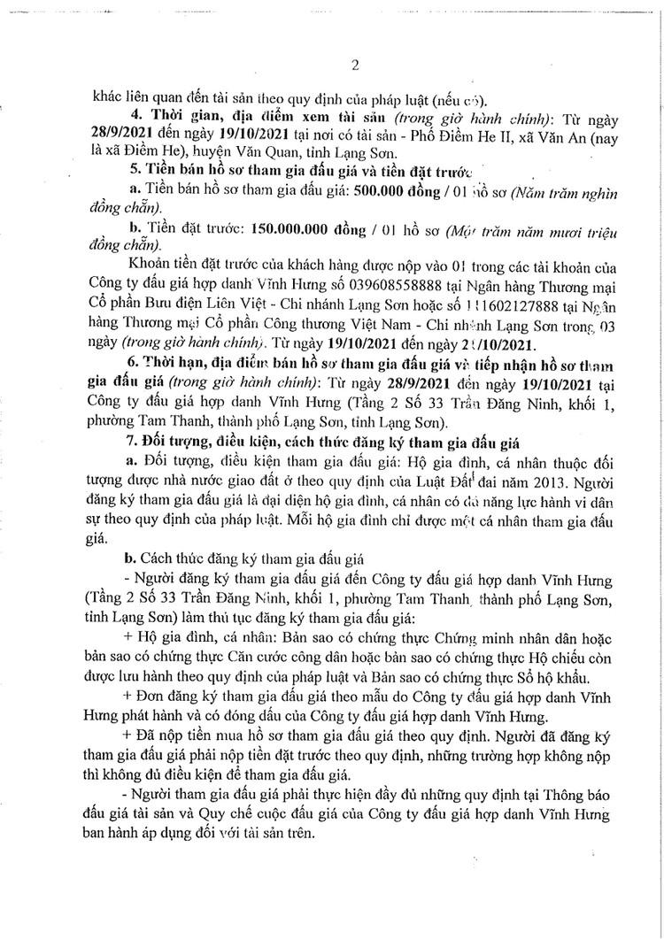 Ngày 22/10/2021, đấu giá quyền sử dụng đất tại huyện Văn Quan, tỉnh Lạng Sơn ảnh 5