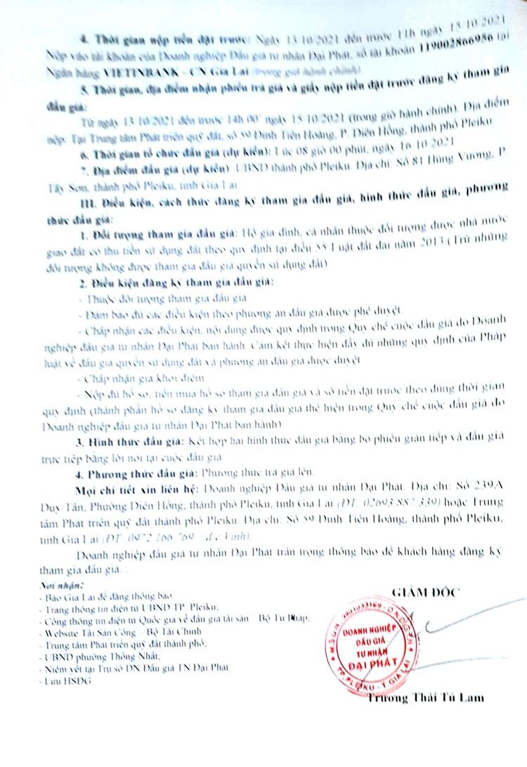 Ngày 16/10/2021, đấu giá quyền sử dụng 6 lô đất tại thành phố Pleiku, tỉnh Gia Lai ảnh 3