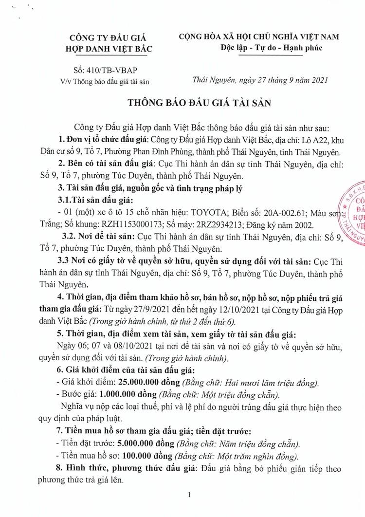Ngày 15/10/2021, đấu giá xe ô tô Toyota 15 chỗ tại tỉnh Thái Nguyên ảnh 2