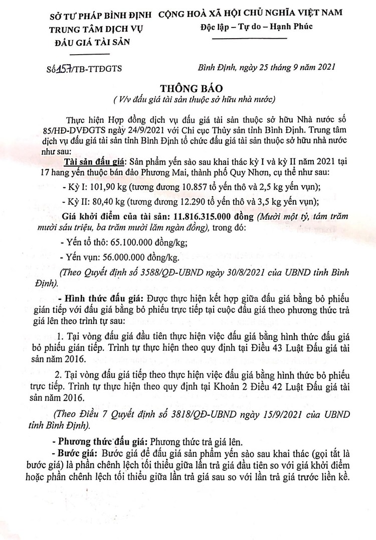 Ngày 15/10/2021, đấu giá sản phẩm Yến sào sau khai thác tại tỉnh Bình Định ảnh 2