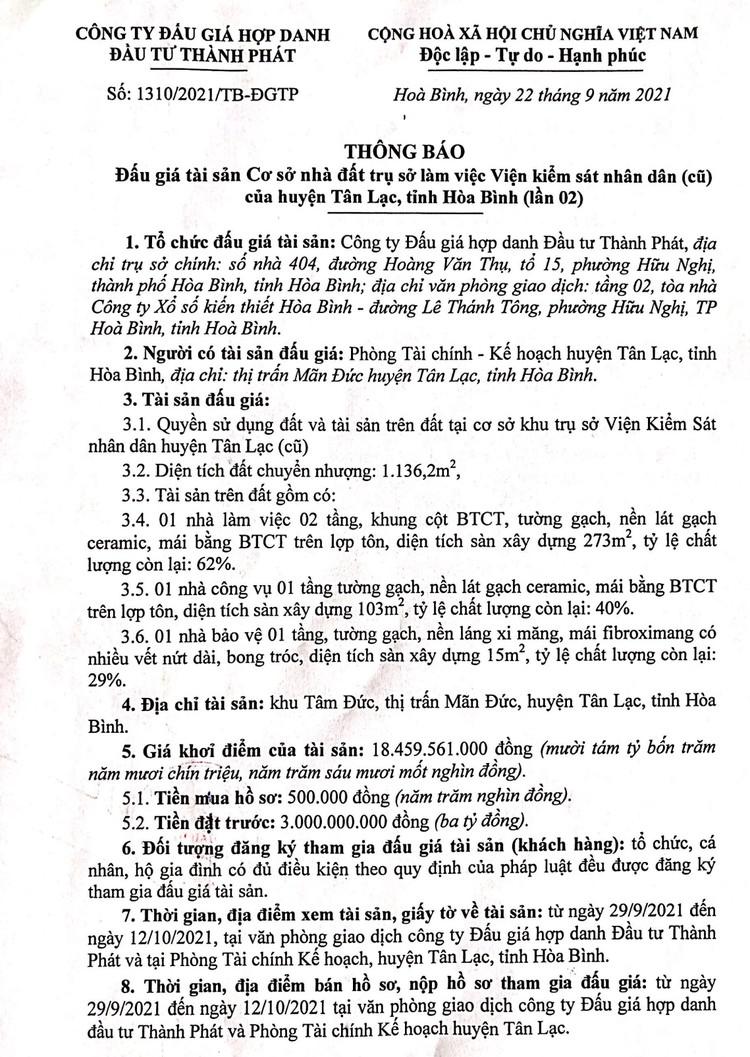 Ngày 15/10/2021, đấu giá quyền sử dụng 1.136,2m2 đất tại huyện Tân Lạc, tỉnh Hòa Bình ảnh 2