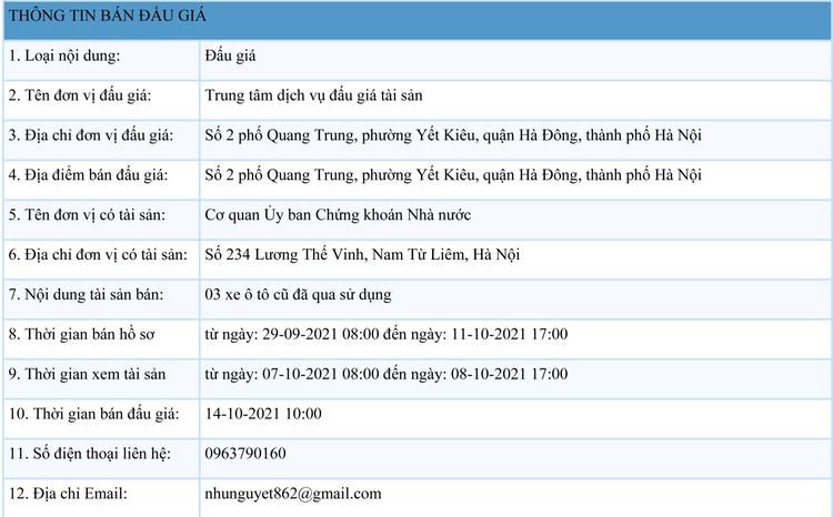 Ngày 14/10/2021, đấu giá 03 xe ô tô cũ đã qua sử dụng tại Hà Nội ảnh 1