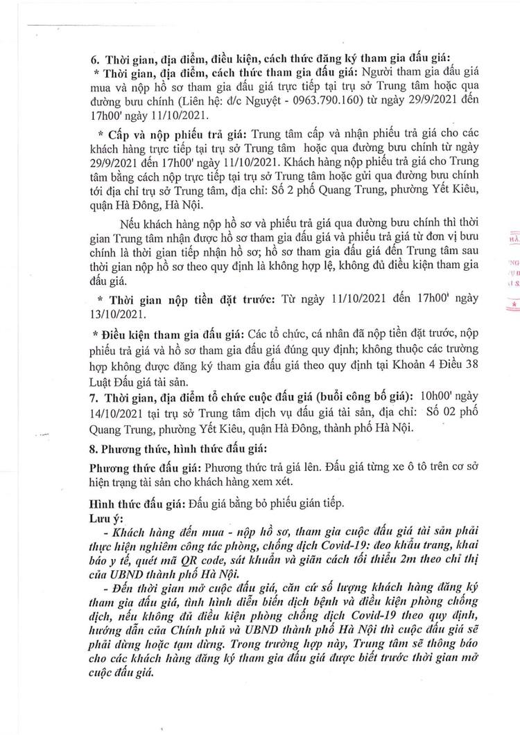 Ngày 14/10/2021, đấu giá 03 xe ô tô cũ đã qua sử dụng tại Hà Nội ảnh 3