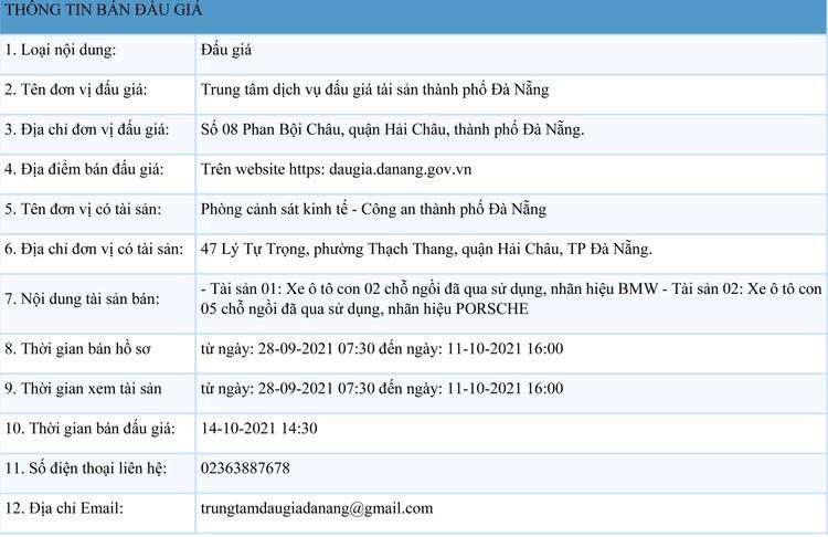 Ngày 14/10/2021, đấu giá xe ô tô đã qua sử dụng tại thành phố Đà Nẵng ảnh 1