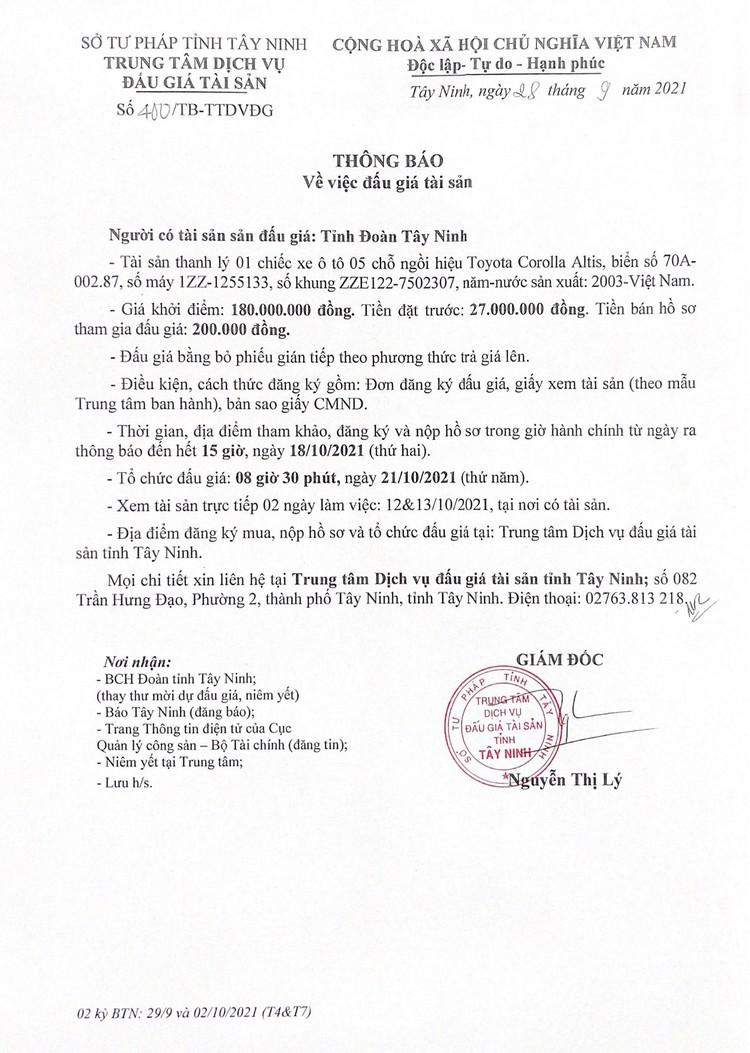 Ngày 21/10/2021, đấu giá xe ôtô Toyota Corolla Altis tại tỉnh Tây Ninh ảnh 2