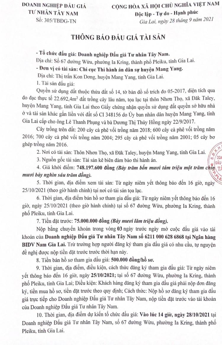 Ngày 28/10/2021, đấu giá quyền sử dụng 22.692 m2 đất tại huyện Mang Yang, tỉnh Gia Lai ảnh 2