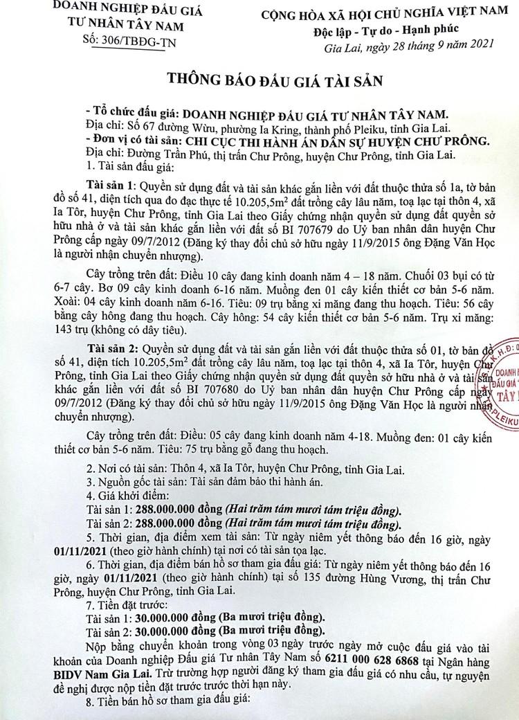 Ngày 4/11/2021, đấu giá quyền sử dụng 2 thửa đất tại huyện Chư Prông, tỉnh Gia Lai ảnh 2