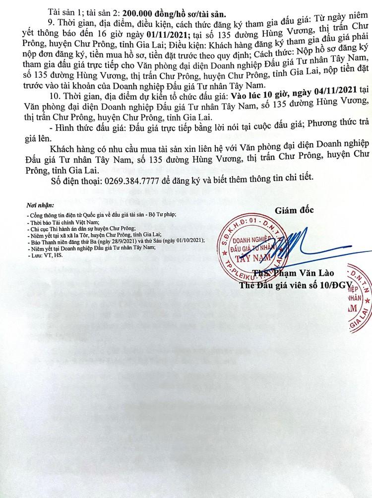 Ngày 4/11/2021, đấu giá quyền sử dụng 2 thửa đất tại huyện Chư Prông, tỉnh Gia Lai ảnh 3
