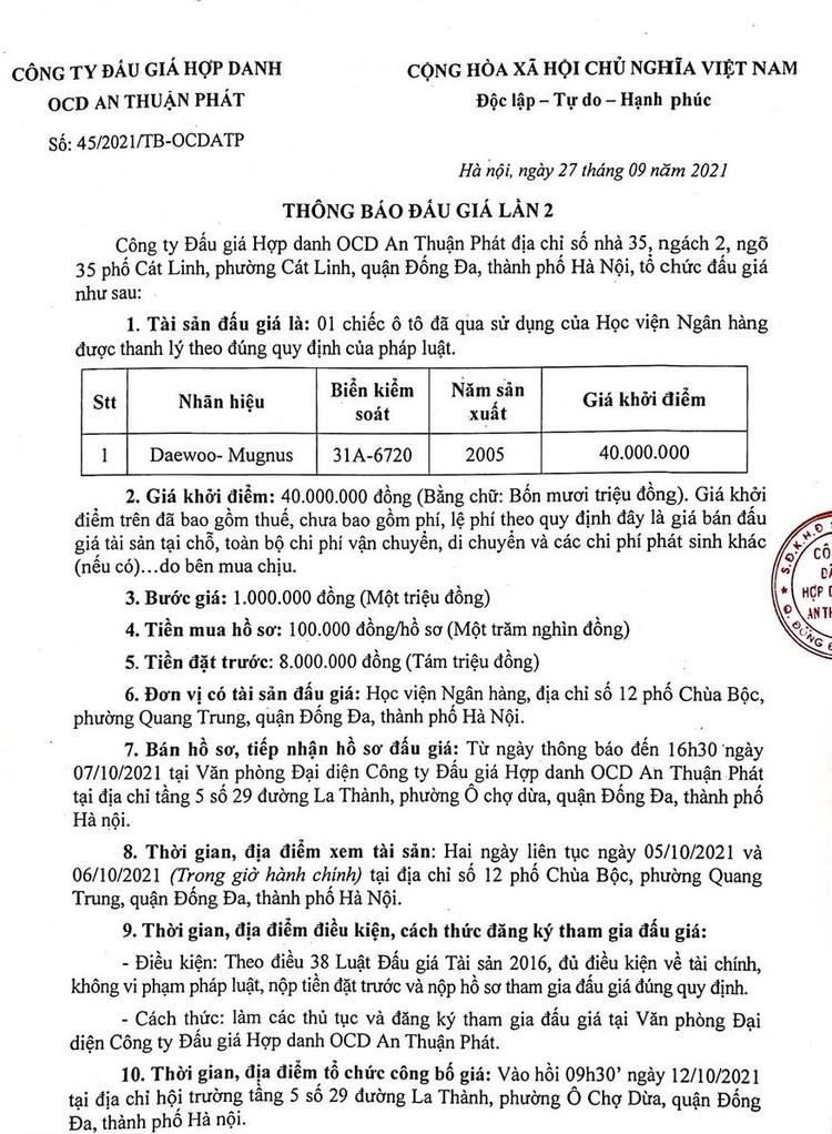 Ngày 12/10/2021, đấu giá xe ô tô Daewoo tại Hà Nội ảnh 2