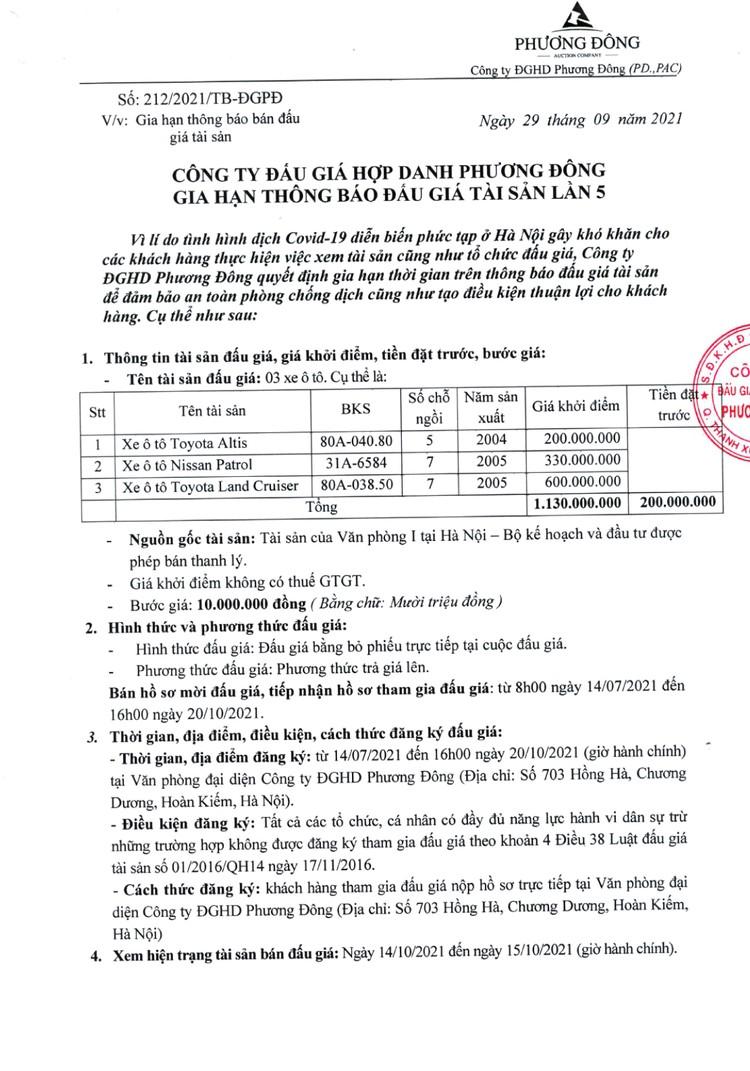 Ngày 22/10/2021, đấu giá 03 xe ô tô tại Hà Nội ảnh 2