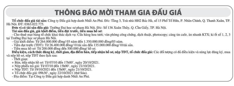 Ngày 22/10/2021, đấu giá cho thuê mặt bằng khai thác dịch vụ tại Hà Nội ảnh 1