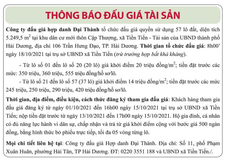 Ngày 18/10/2021, đấu giá quyền sử dụng đất tại thành phố Hải Dương, tỉnh Hải Dương ảnh 1