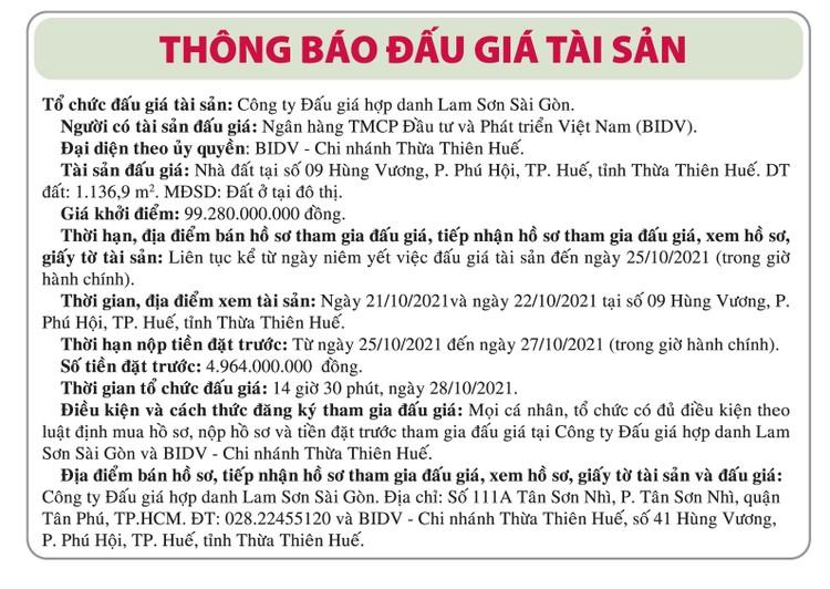 Ngày 28/10/2021, đấu giá nhà đất tại thành phố Huế, tỉnh Thừa Thiên Huế ảnh 1
