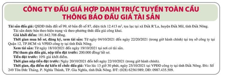 Ngày 25/10/2021, đấu giá quyền sử dụng đất tại huyện Đắk Mil, tỉnh Đắk Nông ảnh 1
