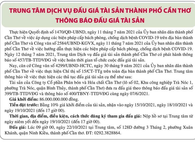 Ngày 22/10/2021, đấu giá quyền sử dụng đất tại quận Ô Môn, thành phố Cần Thơ ảnh 1