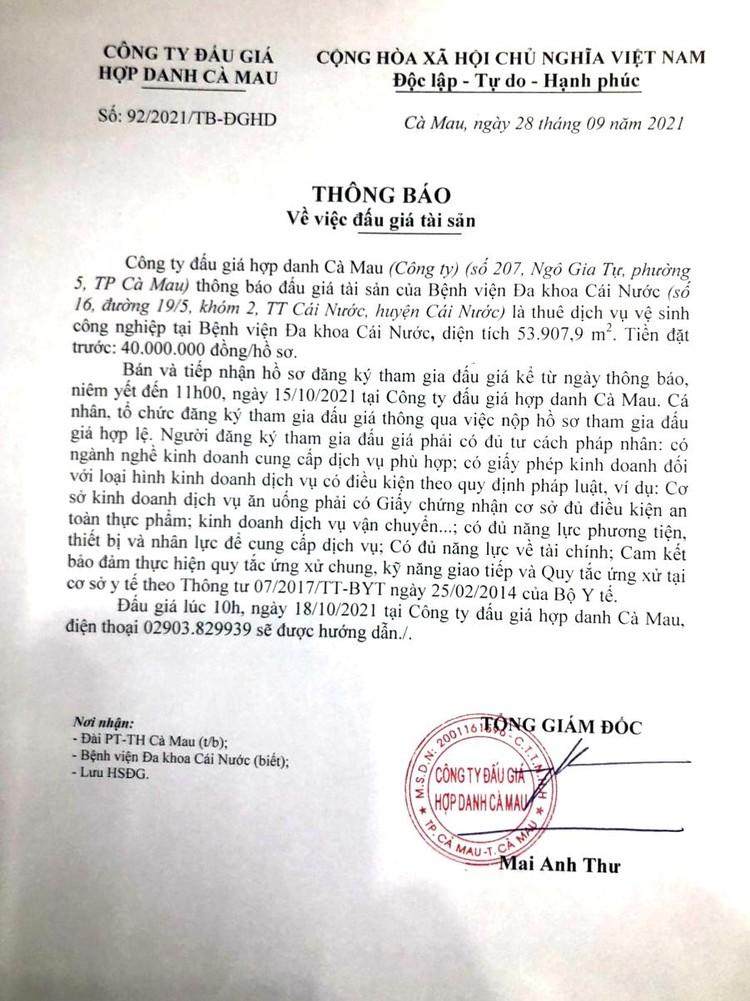 Ngày 18/10/2021, đấu giá thuê dịch vụ vệ sinh công nghiệp tại Bệnh viện Đa khoa Cái Nước, tỉnh Cà Mau ảnh 2
