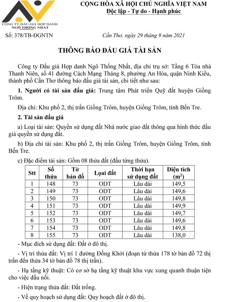 Ngày 22/10/2021, đấu giá quyền sử dụng đất tại huyện Giồng Trôm, tỉnh Bến Tre ảnh 2