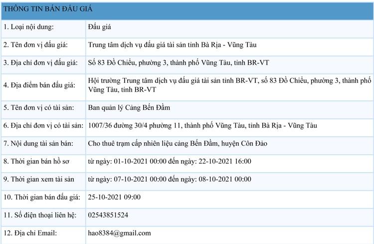 Ngày 25/10/2021, đấu giá cho thuê trạm cấp nhiên liệu cảng Bến Đầm, tỉnh Bà Rịa - Vũng Tàu ảnh 1