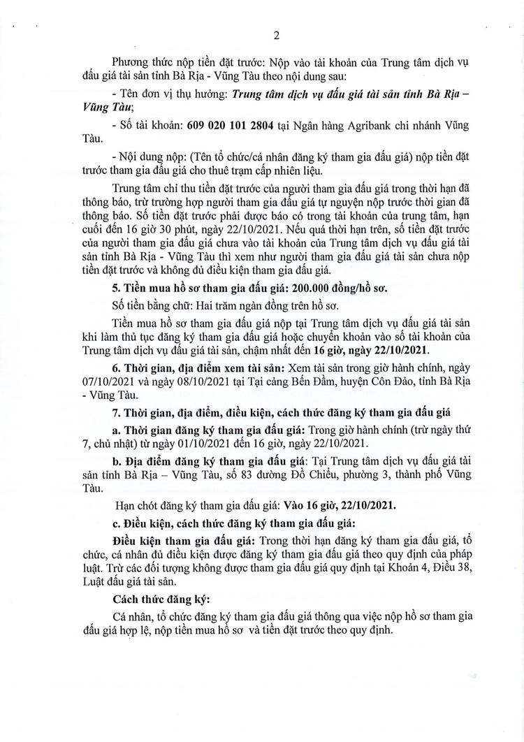 Ngày 25/10/2021, đấu giá cho thuê trạm cấp nhiên liệu cảng Bến Đầm, tỉnh Bà Rịa - Vũng Tàu ảnh 3