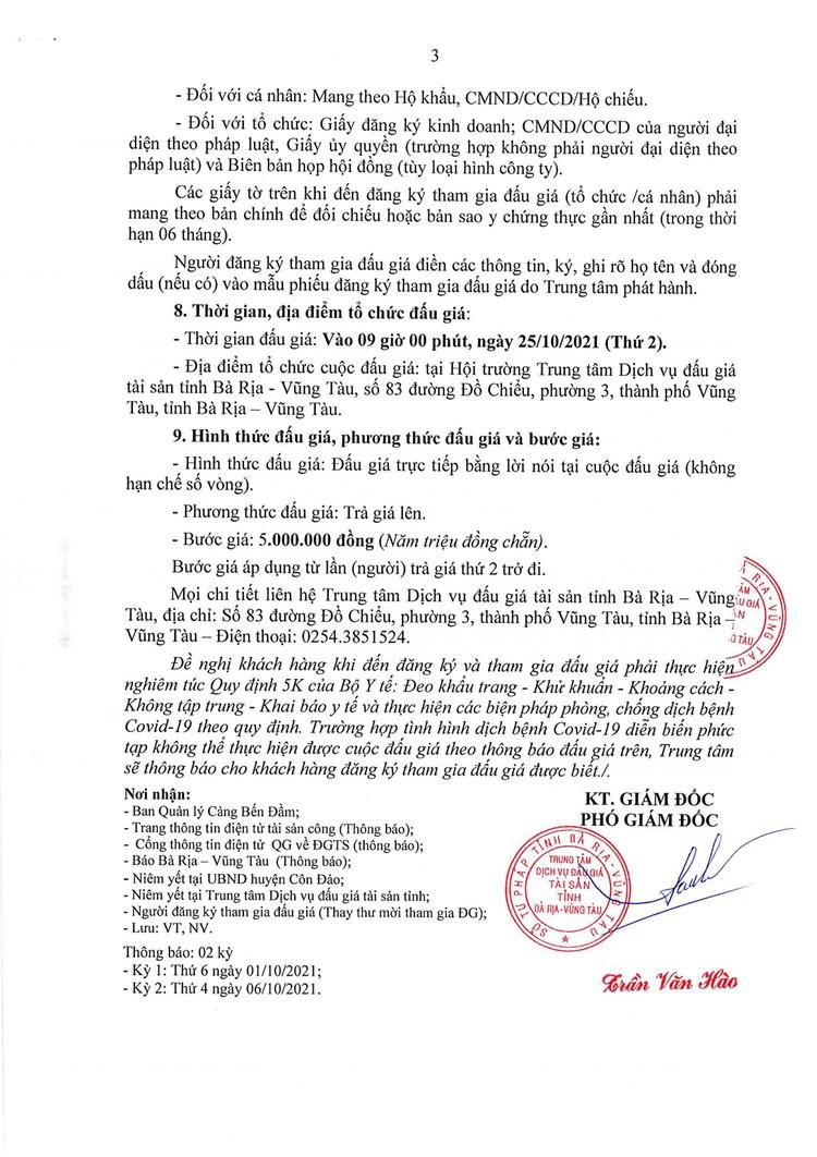Ngày 25/10/2021, đấu giá cho thuê trạm cấp nhiên liệu cảng Bến Đầm, tỉnh Bà Rịa - Vũng Tàu ảnh 4