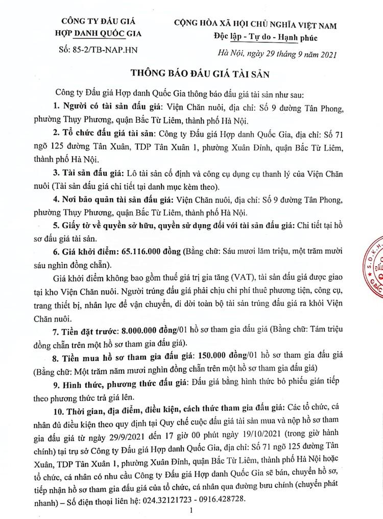 Ngày 22/10/2021, đấu giá lô tài sản cố định và công cụ dụng cụ thanh lý tại Hà Nội ảnh 2
