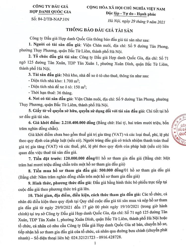 Ngày 22/10/2021, đấu giá Nhà kho, nhà để xe ô tô cho thuê tại Hà Nội ảnh 2