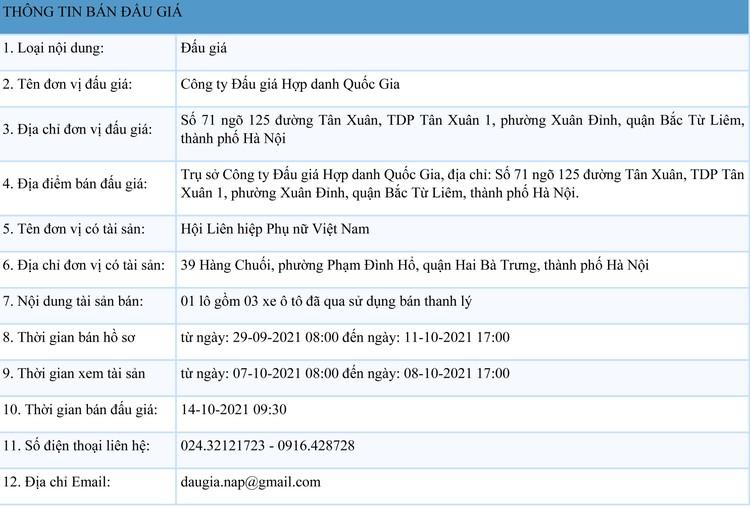 Ngày 14/10/2021, đấu giá 03 xe ô tô đã qua sử dụng tại Hà Nội ảnh 1
