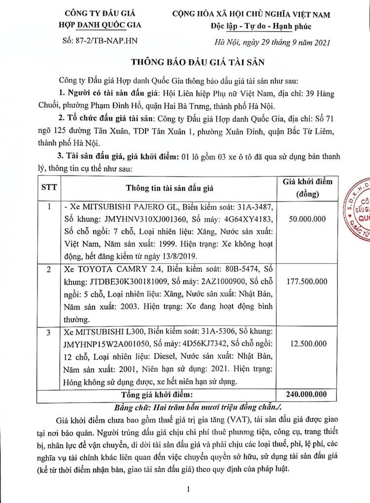 Ngày 14/10/2021, đấu giá 03 xe ô tô đã qua sử dụng tại Hà Nội ảnh 2