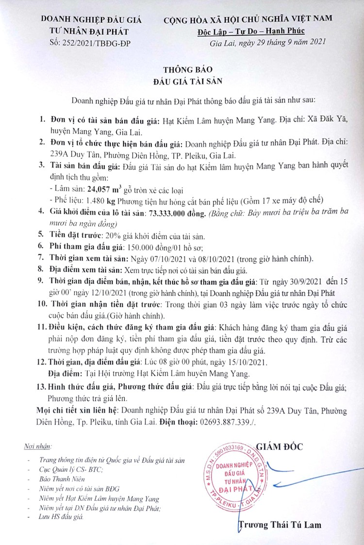 Ngày 15/10/2021, đấu giá lâm sản bị tịch thu tại tỉnh Gia Lai ảnh 2